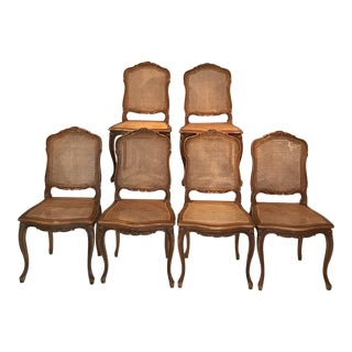 Classic Antique Set of 6 Louis XV Carved Walnut & Caned Dining Chairs For Sale