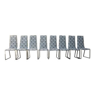1970s Vintage Italian Kravet Fabric Chrome Dining Chairs - Set of 8 For Sale