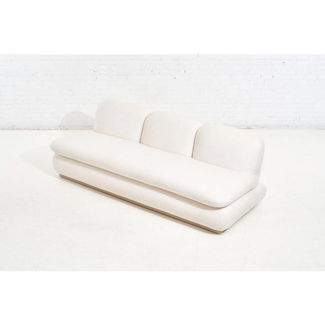 Modern Drama White Boucle Pouf Sofa For Sale - Image 4 of 11