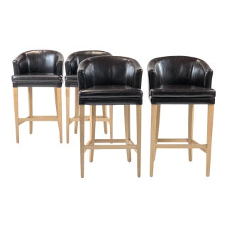 1980s Modern Style Oak and Leather Bar Stools - Set of 4