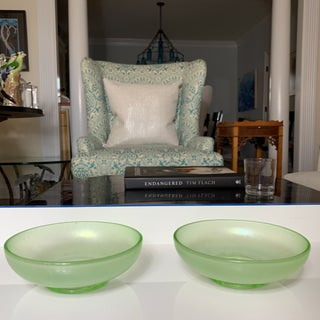 Vintage Iridescent Green Stretch Glass Bowls- Pair Preview