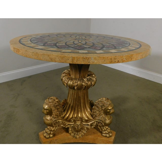 Neo-Classical Style Gilt Lion Carved Center table Round, Mosaic Tessellated Stone top For Sale - Image 12 of 13