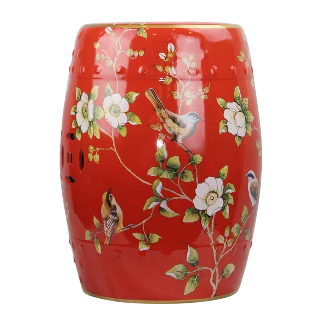 Pasargad DC Modern Contemporary Floral Porcelain Garden Stool For Sale - Image 4 of 5