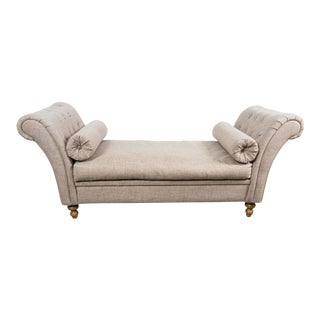 Custom Upholstered Bench With Tufted Rolled Arms For Sale