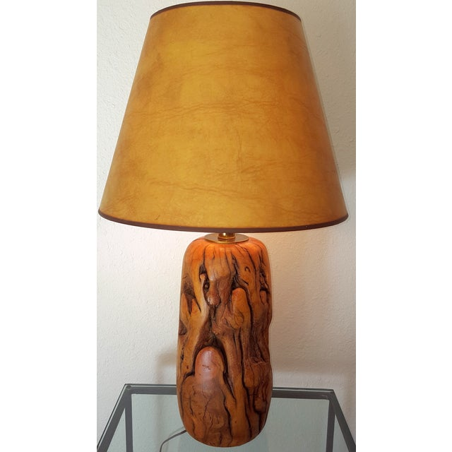 Mid-Century table lamp with hand-turned Tamarisk wood with brass trim. Signed G. Provo. Very heavy and with great natural...