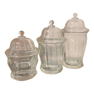 1950s Depression Glass Apothecary Jars - Set of 3 For Sale