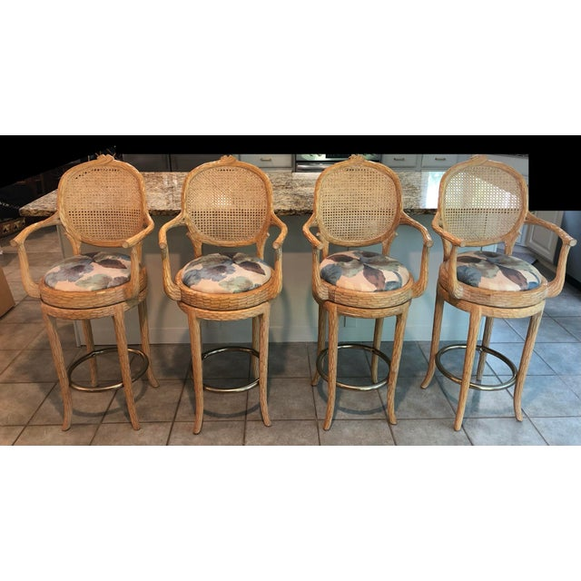 Vintage Faux Bois Cane Back Whitewash Natural Wood Stools With Arms and Brass Footrests - Set of 4 For Sale - Image 11 of 11