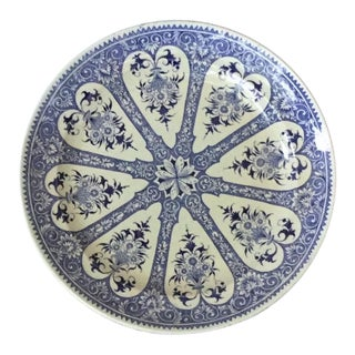19th Century French Blue & White Faience Dinner Plate Sarreguemines For Sale