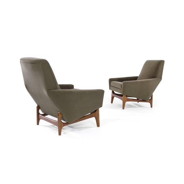 Scandinavian Modern Olive Velvet on Sculptural Teak Base Lounge Chairs - a Pair For Sale - Image 11 of 11