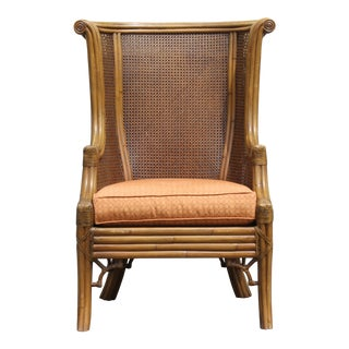 1960s Vintage Double Caned Highly Carved Wing Back Chair For Sale