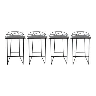 Modern Metal Counter Stools With Faux Snakeskin Leather Seat- Set of 4 For Sale