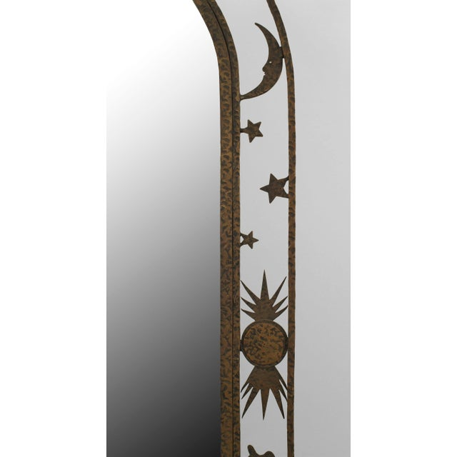 1930s French Art Deco Wrought Iron Cheval Mirror For Sale - Image 5 of 6