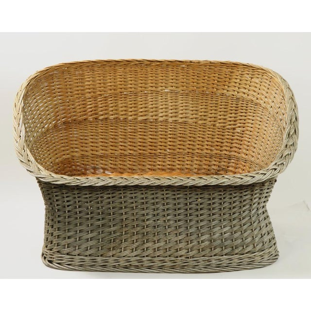 Boho Chic Mod Bar Harbor Style Woven Wicker Settee For Sale - Image 3 of 13