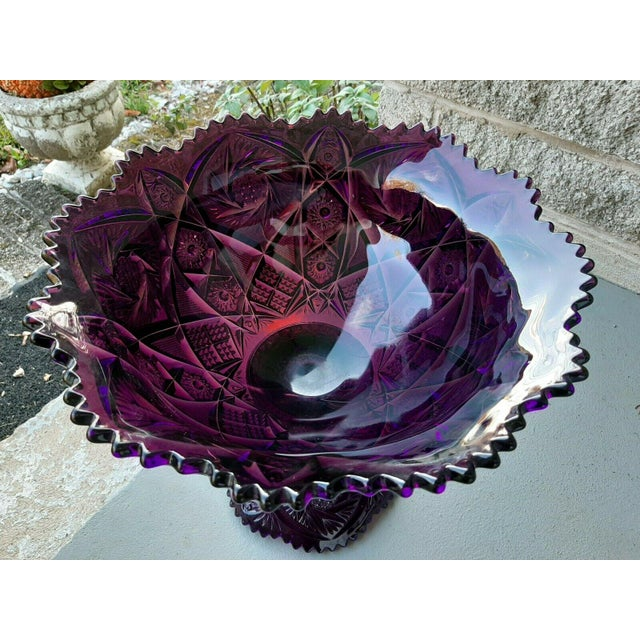 Amethyst Mid 20th Century Large Imperial Whirling Star Amethyst Glass Punch Bowl With Stand For Sale - Image 8 of 13