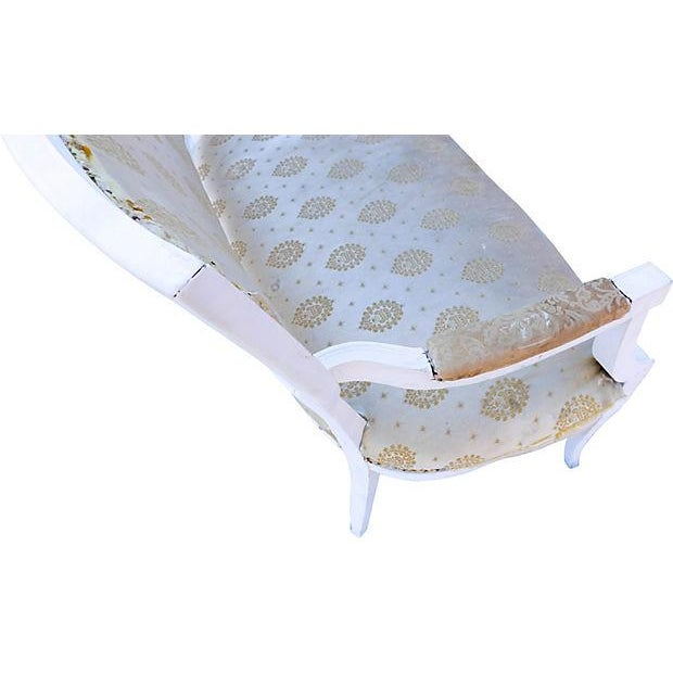 Petite French-Style Love Seat Painted White - Image 4 of 5