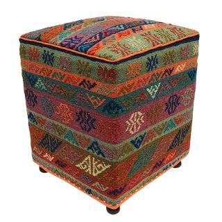 Hairston Orange Handmade Soumakh Upholstered Ottoman For Sale