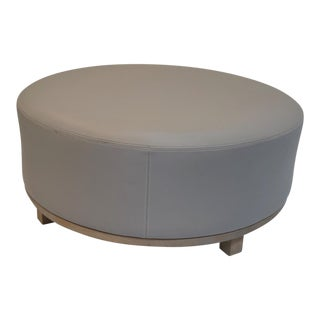 Round Leather Gray Ottoman With Natural Wood Legs For Sale