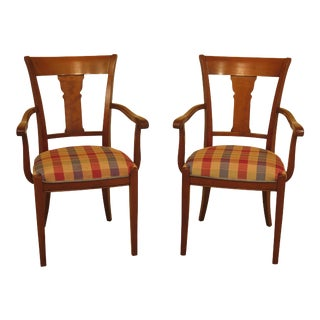 1990s Vintage Grange Country French Cherry Open Arm Chairs- A Pair For Sale
