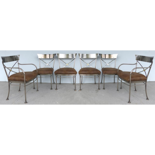 Italianate Steel & Brass Dining Chairs by Design Institute of America (DIA)-Set of 6 For Sale - Image 12 of 12