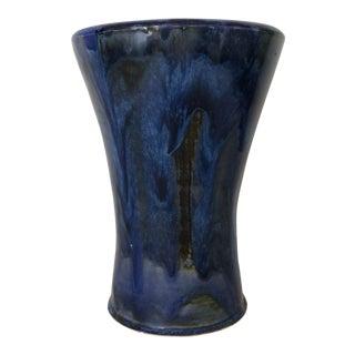 Boho Chic Blue Signed Pottery Vase
