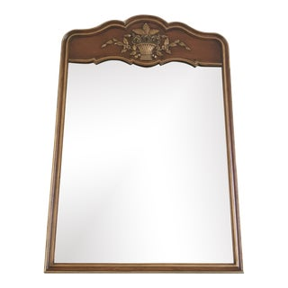 Mid Century Mahogany and Gold Mirror by Kindel For Sale