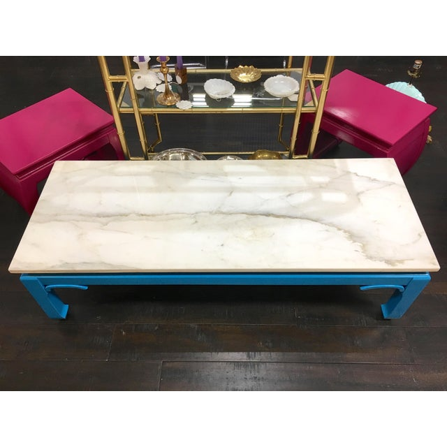 Ming style coffee table with chow legs, Italian Carrara marble top and wood base painted in high gloss in Valspar Spring...