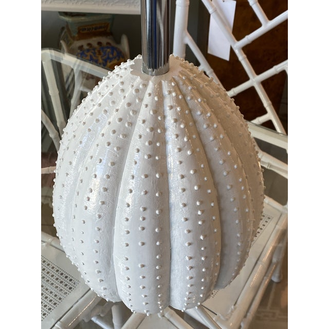 Vintage White Sea Urchin Style Palm Beach Table Lamps Newly Restored -A Pair For Sale - Image 9 of 12