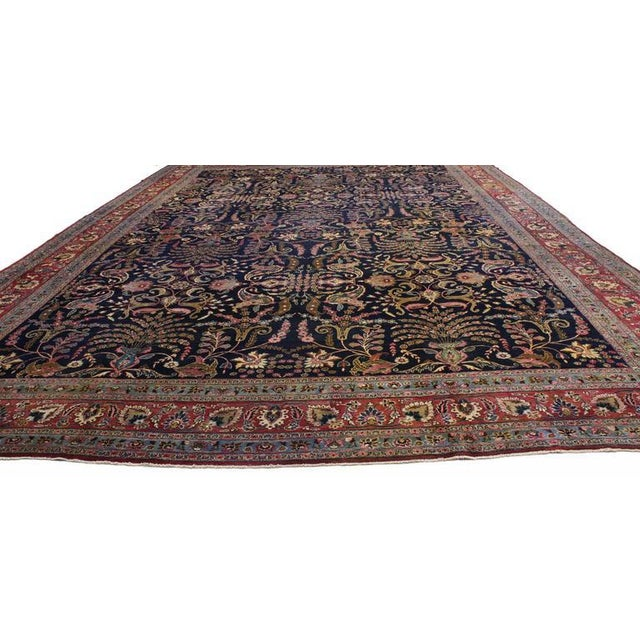 Contemporary Antique Persian Mashhad Rug with Traditional Modern Style For Sale - Image 3 of 9