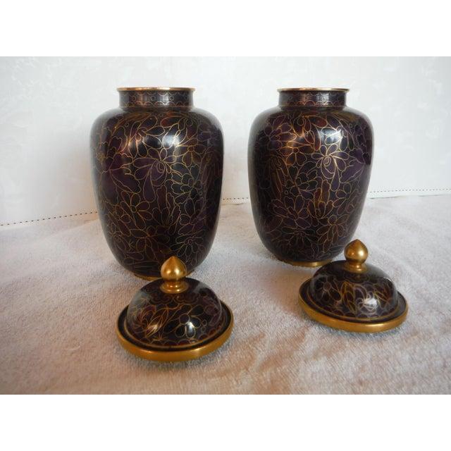 Purple & Gold Cloisonné Ginger Jars - a Pair - Image 3 of 7