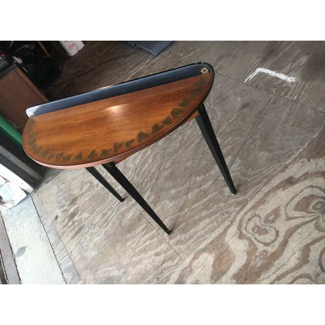 Vintage. Nice solid table in very good to excellent used condition. Solid maple. Stenciled. 3 Legs. There are little...