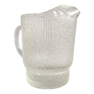 Vintage Textured Glass Pitcher For Sale