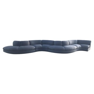 Monumental Black Serpentine Sectional Sofa For Sale