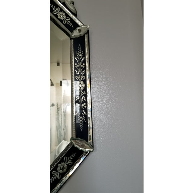 Glass Vintage Mid-Century Venetian Style Black Banded Mirror For Sale - Image 7 of 12
