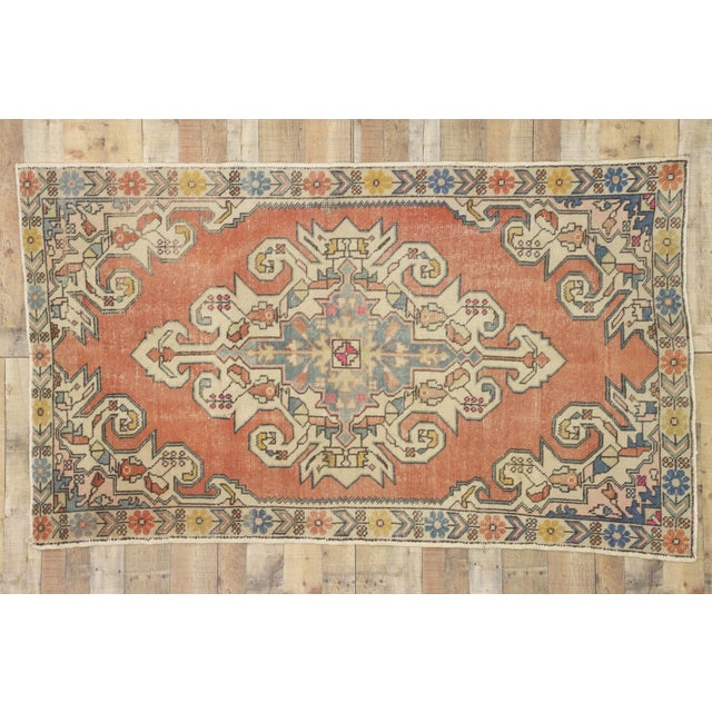 Textile Distressed Vintage Turkish Oushak Rug With Art Deco Style - 4'05 x 7'07 For Sale - Image 7 of 9