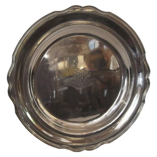 Antique Sterling Silver Round Tray For Sale