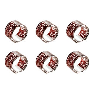 ARTEL Narcissus Napkin Rings, Red, Set of 6 For Sale