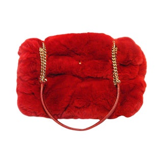 Chanel Red Rabbit Fur Classic Limited Edition Flap Bag For Sale