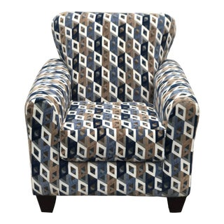 Upholstered Blue Arm Chair For Sale