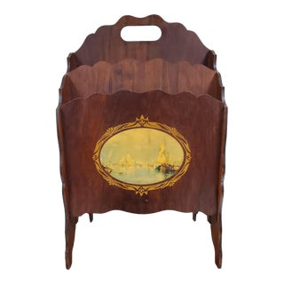 Antique Mahogany Magazine Rack With Landscape Art Cameo For Sale
