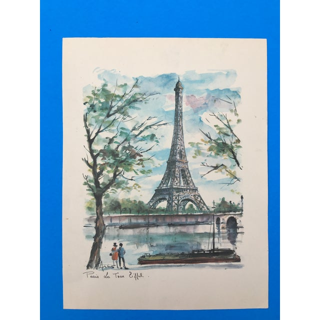 Beautiful unframed French vintage watercolor print representing the Eiffel Tower and the River Seine in Paris, France....
