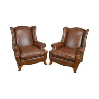 Brown Leather Rococo Style Pair of Bergere Wing Chairs by Century For Sale