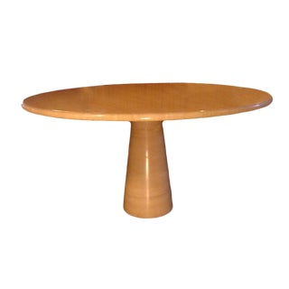 Roche Bobois Polished Travertine Dining Table For Sale