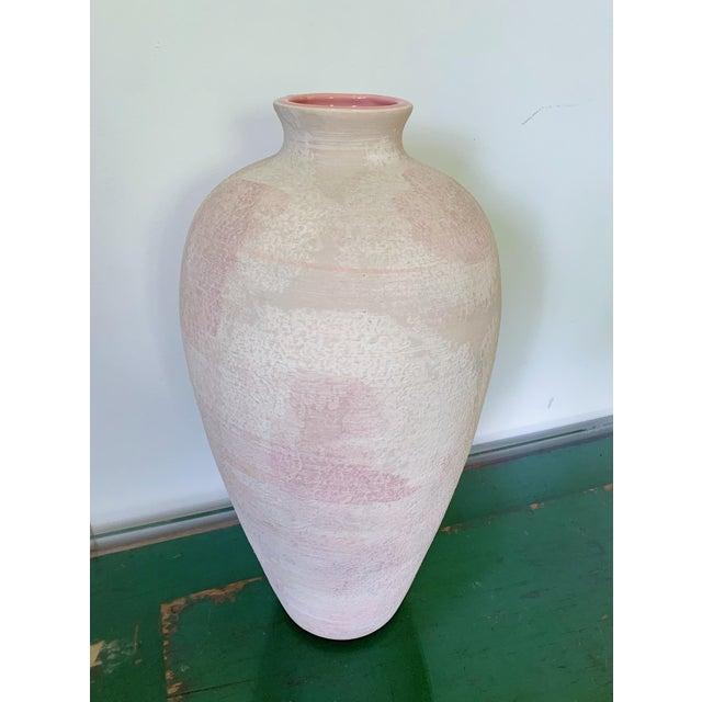 Modern Vintage Haeger Textured Pink Ceramic Vase For Sale - Image 3 of 10