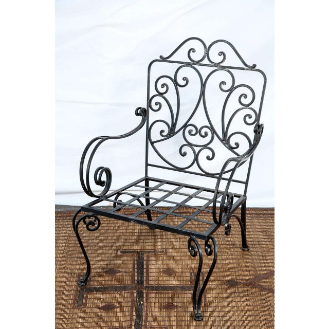 Black Pair of Iron French Armchairs in the Style of j.c. Moreux For Sale - Image 8 of 10