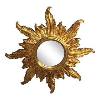 Italian Giltwood Sunburst Mirror For Sale