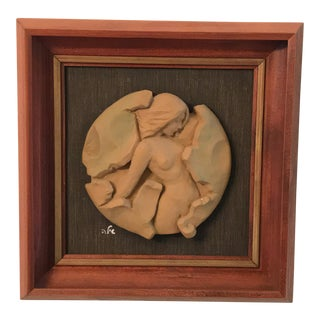 Small Framed Ceramic Female Nude Birth of Venus Relief by Richard Shiloh For Sale