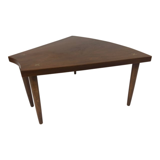 Mid Century Modern Wedge Table - Merton Gershun for American of Martinsville For Sale
