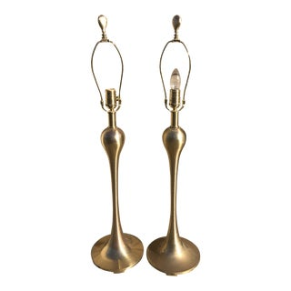 Vintage Quoizel Tear Drop Lamps in Brass - a Pair For Sale