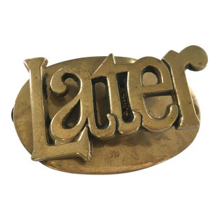"""1960s """"Later"""" Mid-Century Modern Solid Brass Paper Clip For Sale"""
