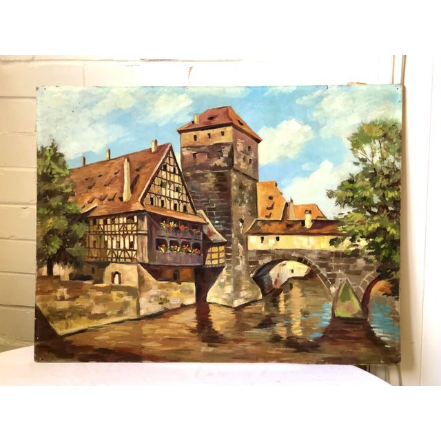 Impressionist Oil Painting of a Continental Townscape For Sale - Image 12 of 12